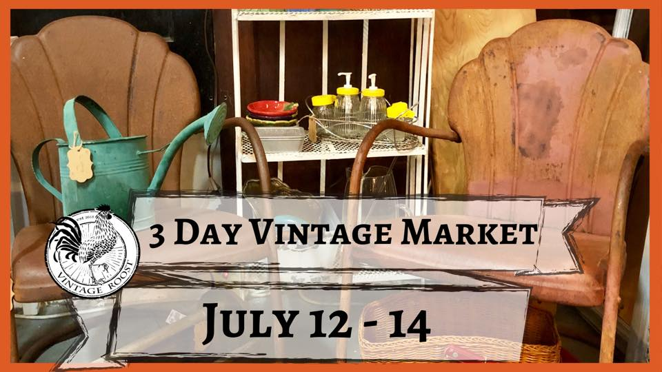 Vintage chairs and other antiquities at a 3 day vintage market