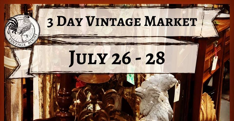 Photo shows vintage items from upcoming 3 Day Vintage Market from July 26 to 28