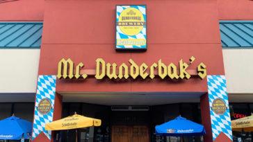 The front entrance of Mr. Dunderbak's restaurant
