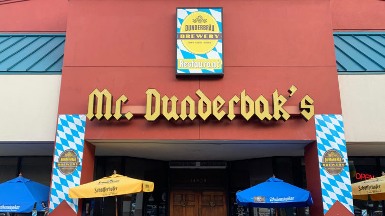 The front entrance of Mr. Dunderbak's restaurant