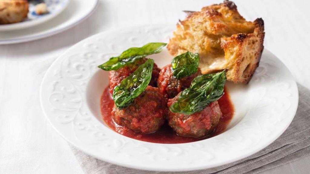 Meatballs alla Romana, braised beef shank sugo
