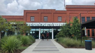 Outside of Heights Public Market, a food hall in Tampa