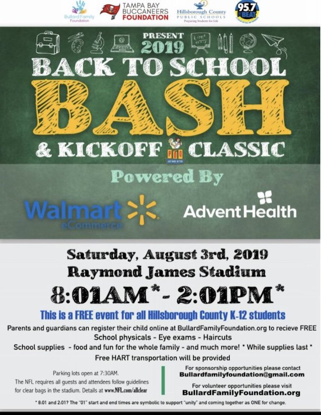 Tampa Back to School Bash flier.