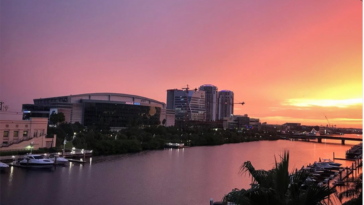 Amalie Arena at sunset
