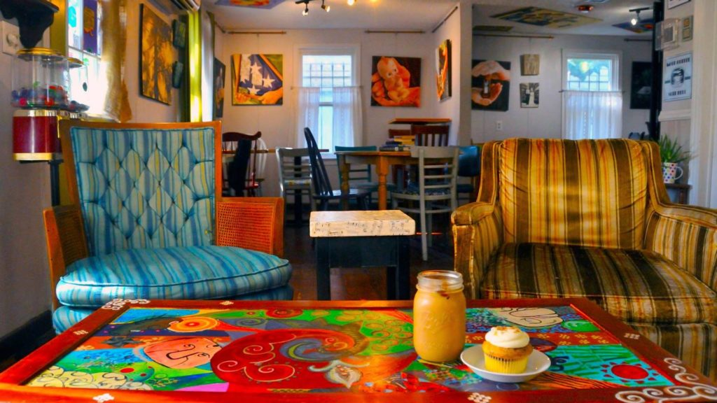 Inside a Tampa Bay coffee shops with vintage chairs