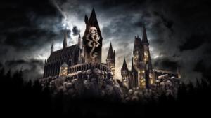 Outside Hogwarts Castle at Universal Studios