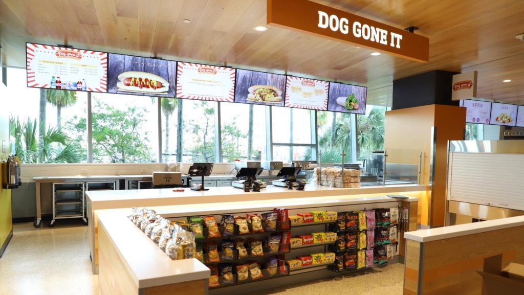 Inside a grab-and-go concession stand at a sports arena