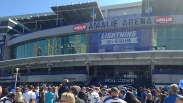 Outside Amalie Arena before a Lightning game