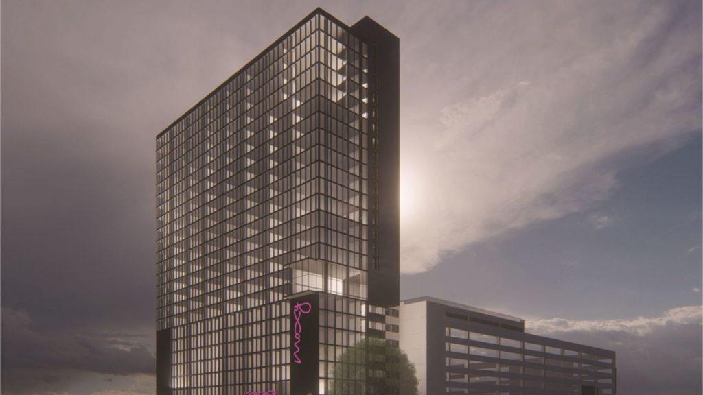 Rendering of Moxy Hotel, a 25-story development