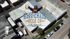 Aerial view of new brewery with Bear logo