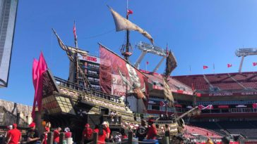 Photo of giant pirate ship at Raymond James Stadium
