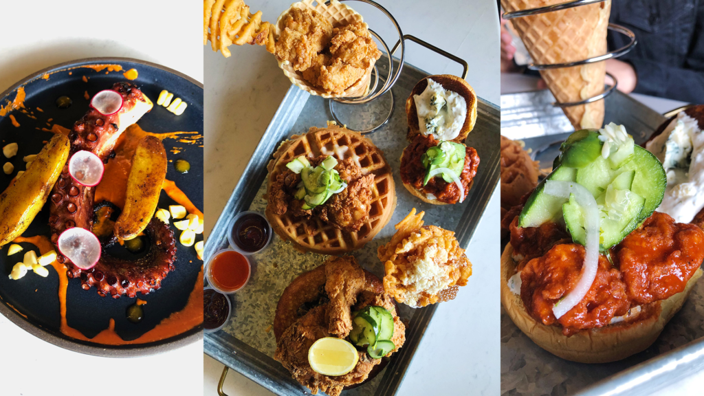 Photo of a spread of fried chicken and grilled octopus