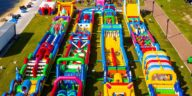 Aerial photo of world's longest inflatable obstacle course