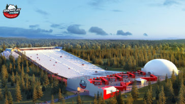 Rendering of a snow park with a steep hill and snow dome.