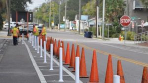 Photo of protected bike lanes