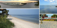 Photos of a small beach in Tampa, Florida.