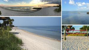 Photos of a small beach in Tampa, Florida.