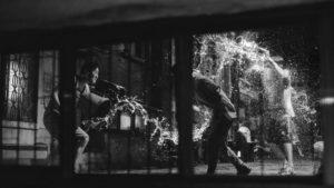 Black and white still from South Korean film Parasite