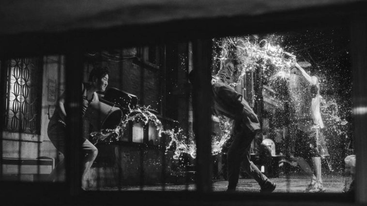 Black and white still from South Korean film Parasite