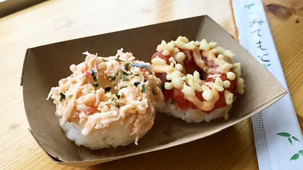 Photo of two assembled sushi donuts