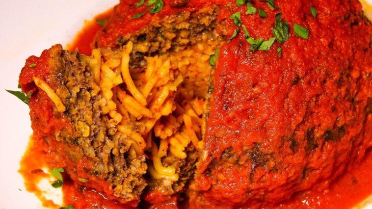 A spaghetti filled meatball
