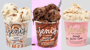 Assortment of three different pints of gourmet ice cream