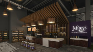 Rendering of a new coffee shop with an espresso bar