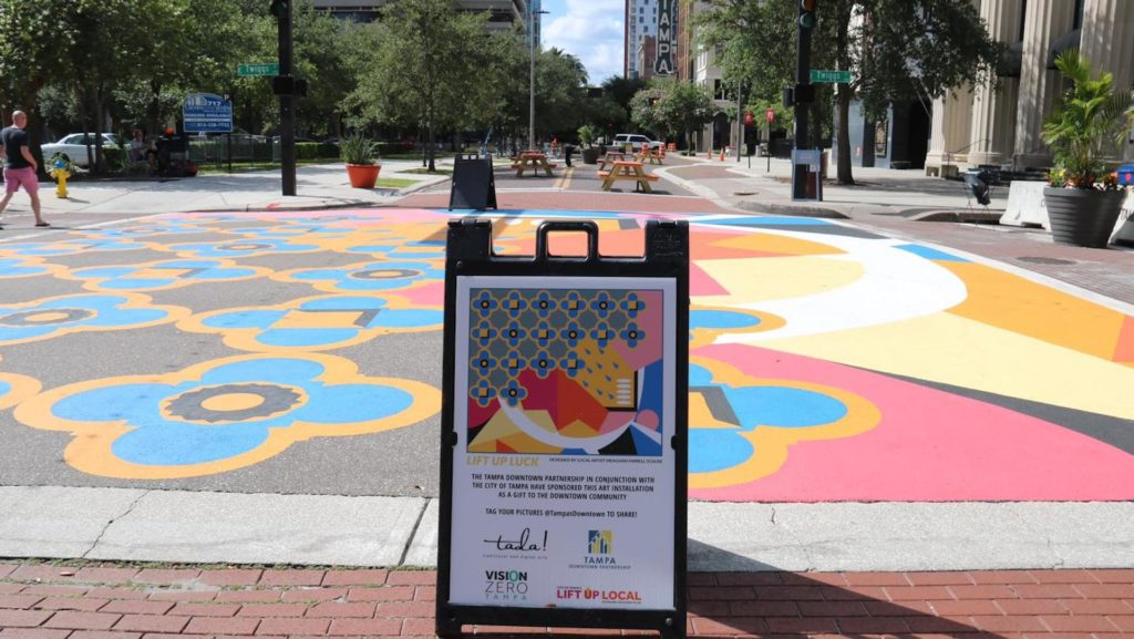 Photo of a vibrant street mural in Downtown Tampa