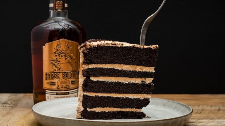 Massive slice of bourbon chocolate cake