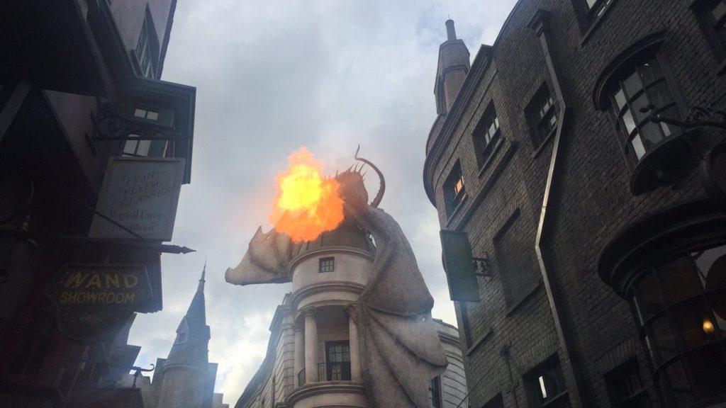 Photo os an animatronic dragon breathing fire