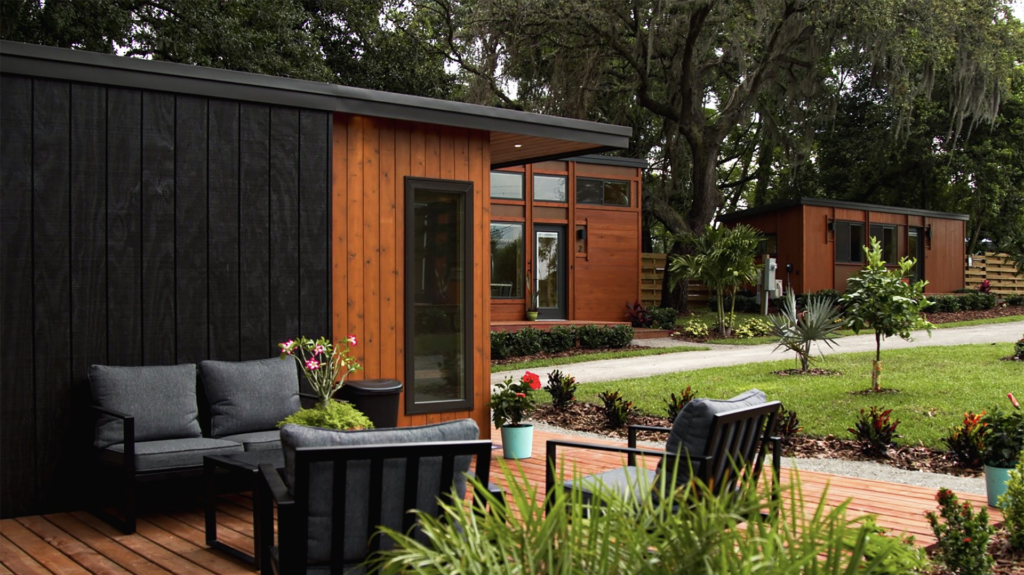Photo of a common area in a Tiny Home Village