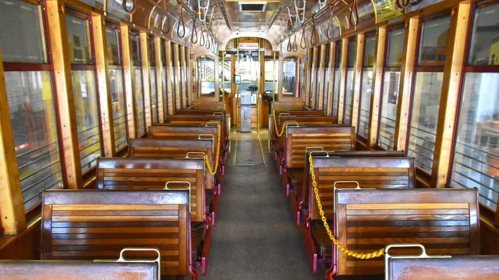 Inside of a historic streetcar