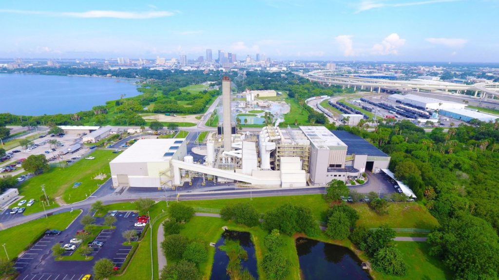 Drone footage of a waste to energy facility in Florida