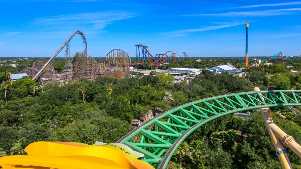 View of a theme park from the top of a roller coaster