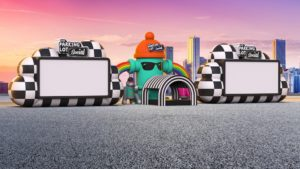 Rendering of inflatable movie screens in a parking lot