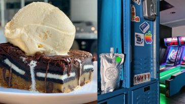 Photo of a giant cookie brownie topped with ice cream, next to a blue locker with a silver juice packet