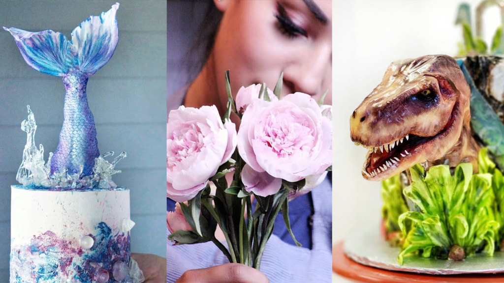 Photo of artful baked goods including a mermaid cake, sugar flowers, and a dinosaur cake