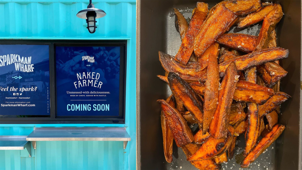 Photo of a light blue shipping container, and sweet potato wedges