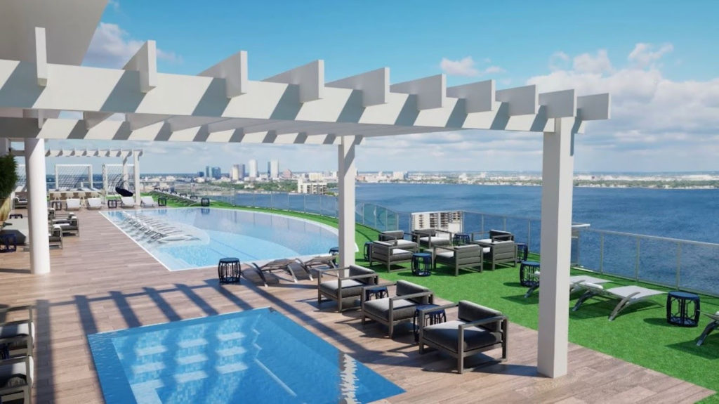 Rendering of a rooftop pool overlooking a large body of water