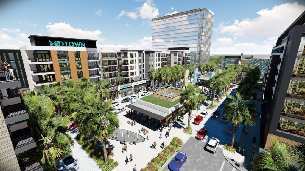 Rendering of a massive development featuring hotels, restaurants and green space