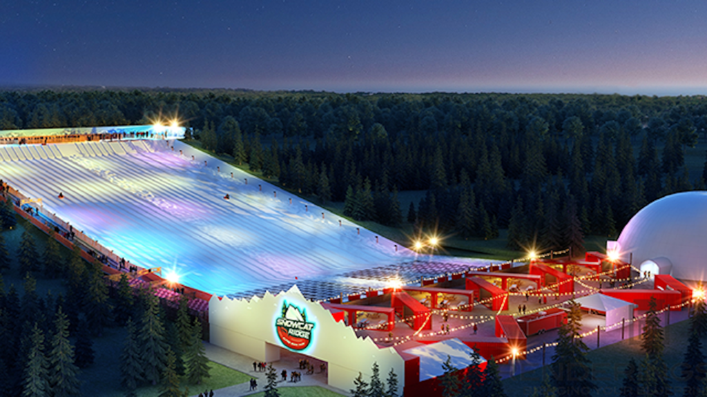 Rendering of a snow park with a tubing/sledding hill