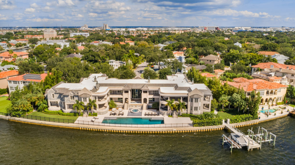Aerial view from the waterfront side of Derek Jeter's mansion for sale