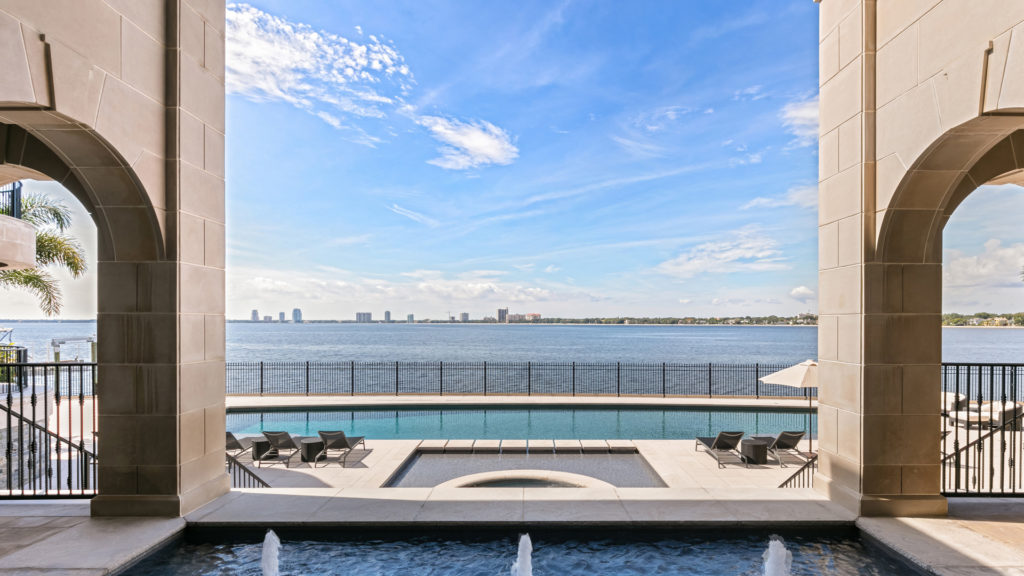 View from the pool looking out into the water at Derek Jeter's home, now for sale