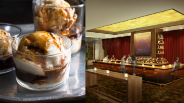 Rendering of a new bar with. a gold vaulted ceiling and a double chocolate parfait