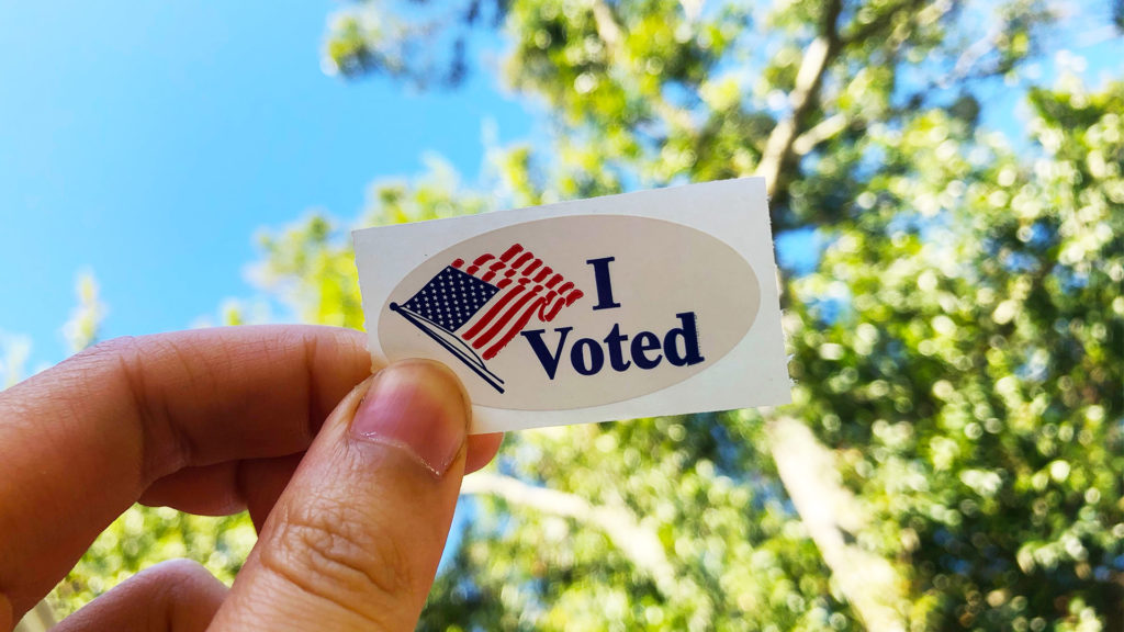 I voted sticker held up against blue sky and tree