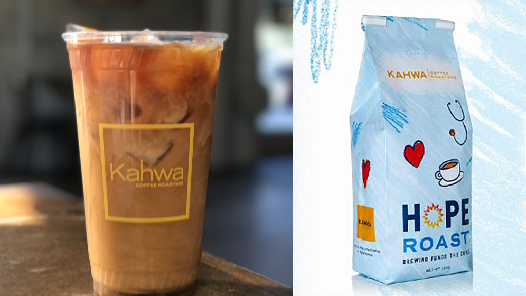 Photo of an iced coffee and a blue bag with the word hope written on it