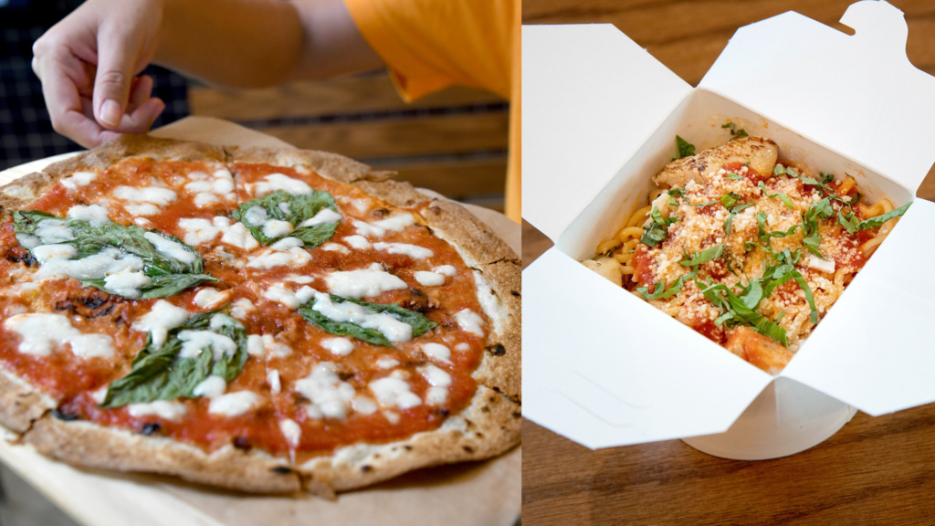 Photo of a pizza pulled from the oven, and pasta inside a to-go container