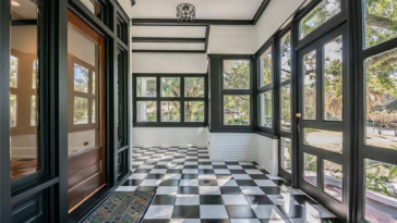 Interior of home with checkerboard tiles