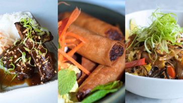 Photo of 3 different Filipino dishes