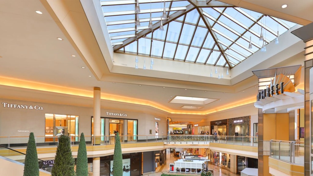 Inside a large shopping plaza with Christmas trees